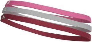 Adidas Hairbands Womens Headbands 3 Pack Pink Grey Burgundy Sports Brand New