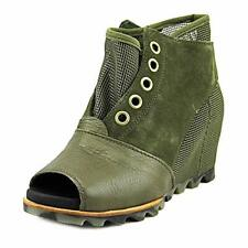 Sorel Women's New Joanie Mesh Suede Leather Open Toe Wedge Bootie Boots Wedges