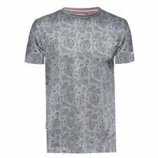 Magliette da uomo grigie casual con girocollo