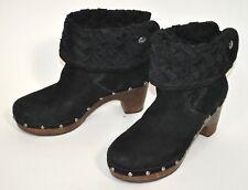 Ugg Australia Boots Black Suede Wood Heel Lynnea Arroyo Weave 3361 6/37