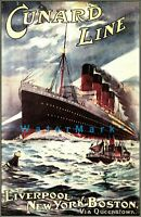 Cunard Line 1907 Liverpool NY Boston Ship Ocean Liner Vintage Poster Print Decor