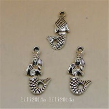 15pcs Tibetan Silver Charm Mermaid Retro Jewelry Accessories Wholesale  PL935