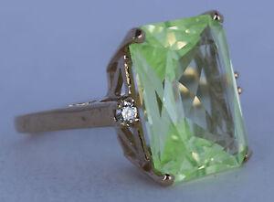 Fine designer large 10K Yellow Gold & Greenish Citrine with Diamonds accent ring