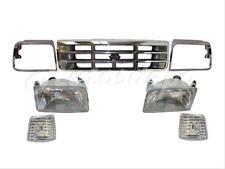 For 1992-1997 Ford F250 F350 Grille Chrome Bezel Headlight Park Light 7Pcs
