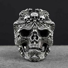 NEW! CUSTOM 925 STERLING SILVER CARVED DETAIL SUGAR OPEN SKULL RING (all sizes)