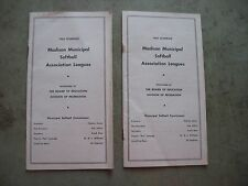 1962 Madison Wisconsin Municipal softball association leagues schedule and rules