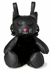 BRAND NEW BETSEY JOHNSON Black Cat Faux Fur Backpack Handbag