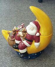 "Santa Moon Cookie Jar 12"" H 11"" W  David Carter Brown Holidays Sakura NEW"