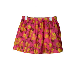 J. Crew pink pineapple print mini skirt women's size Small bold cotton pockets
