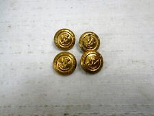 Vintage Lot 6 Brass Buttons Embossed Eagle Crown Anchor Laurel Leaf Trim