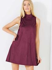 AX Paris @ Kaleidoscope Size 10 Plum Suede Look Retro Chic Shift DRESS Party £40