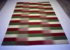 Multi Color Wool Cotton Hand Woven 5x8 Feet Area Rug