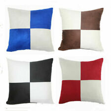 """18"""" Vintage Square Plaid Linen Pillow Case Protector Cushion Cover Sofa Throw"""