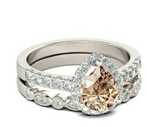 Elegant Women  Silver Colour Jewelry Wedding Set Rings Pink stone Ring Size 6-10
