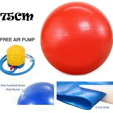 75cm ANTI BURST YOGA EXERCISE GYM PREGNANCY SWISS FITNESS ABS BALL + PUMP RED