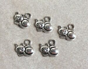 Antique Silver Charms, Cute Cats, 5pcs, 15mm, Diy Jewellery Making, Crafts