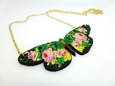"Vintage De Madera Rosa Rosa Flor Mariposa Oro Collar Colgante 18 ""chain"