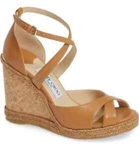Jimmy Choo Alanah Espadrille Wedge Sandals Tan Leather Platform Shoes 37