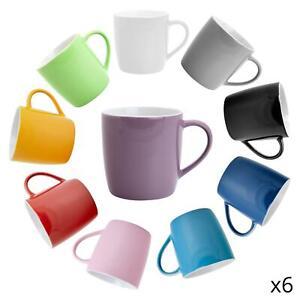 6x Coloured Tea Coffee Mug Contemporary Ceramic Drinks Mugs - 350ml
