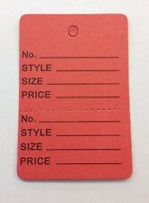 1000 Red Clothing Consign Tag Perforated Unstrung Price Merchandise Store Tag