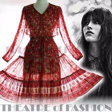 Vintage Vestido Gasa Pavo Real 70s Boda Indio S M L XL 60s Boho Hippy Diosa