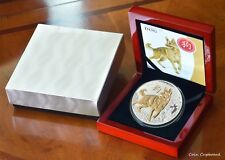 2018 Niue $8.00 - 5 oz .999 silver proof w/partial gold gilding Year of the Dog