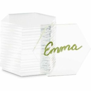 Hexagon Acrylic Name Place Cards for Wedding Tables (3.1 x 2.75 in, 20 Pack)