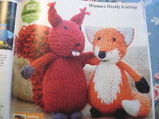 Knitting pattern fox and squirrel soft toys approx 14cm high