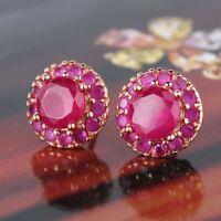 Luxury beloved gift!  18K rose gold filled smart ruby stud earring