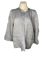 Eileen Fisher Womens Tank and Linen Tunic Set Blue White Size Large