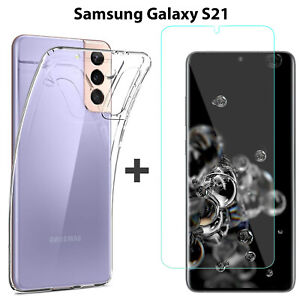 For Samsung Galaxy S21 Clear Back Case Cover and Soft Front Screen Protector