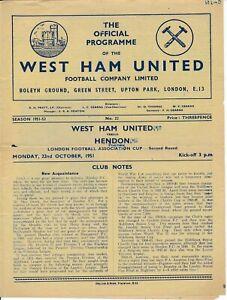 Wets Ham United v Hendon (London Challenge Cup) 1951/1952