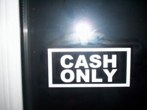 """"""" CASH ONLY """" TAXI WINDOW STICKERS (set of 3)"""