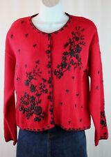 VTG Tiara Size PM 2000 Red Button Front Embroidery Bead Cardigan Sweater