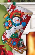 "Bucilla Snowman with Presents ~ 18"" Felt Christmas Stocking Kit #86410 New 2013"