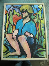 "Jody Bailey Signed Portrait of Girl on Canvas Painting Titled "" Gretchen """