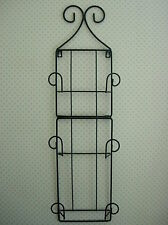 Unusual Sturdy Large Black Wrought Iron Vertical Folding Wall Rack For 3 Plates