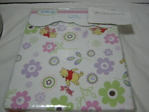 """New DISNEY POOH Collections CRIB FITTED SHEET 52"""" X 28"""" WHITE W/ Piglet FLOWERS"""