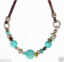 Vtg Unique Leather Necklace Turquoise Gemstone & 24K Gold Plated Charms Beads
