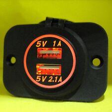 USB Dual Power Charger Socket Outlet Orange Flush Mount 12V 24 Volt Caravan Pan