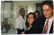 Vintage 1990's PHOTO Woman In Oval Shaped Frame Glasses Holding Large Camera