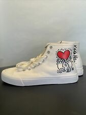 Keith Haring White High Top Mens Us Size 8.5 Eur 41 H&M Collab Heart Herring