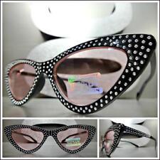 Elegant VINTAGE 50's RETRO Cat Eye Style SUN GLASSES Bling Black Frame Pink Lens