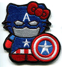 HELLO KITTY AS CAPTAIN AMERICA EMBROIDERED IRON ON PATCH FREE SHIPPING
