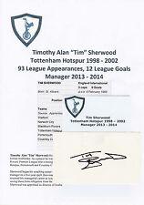 TIM SHERWOOD TOTTENHAM HOTSPUR 1998-2002 ORIGINAL HAND SIGNED CUTTING/CARD