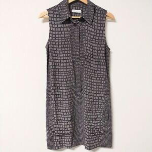 Equipment Femme Lucida 100% Silk Dress XS Gray Alligator Print Sleeveless Mini