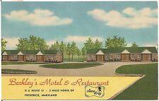 Beckley's Motel and Restaurant in Frederick MD Roadside Postcard 1957
