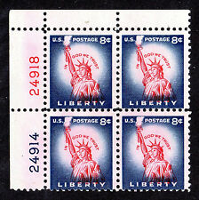US # 1041 (1954) 8c MNH, Plate Block of 4; EFO: Color Shift {Red in 'Liberty'}