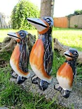 More details for fair trade hand carved made wooden wood penguin statue sculptures set of 3