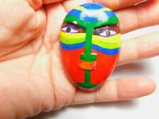 Tribal Wooden Hand Painted Yellow Green Red Blue Mask Brooch Vintage